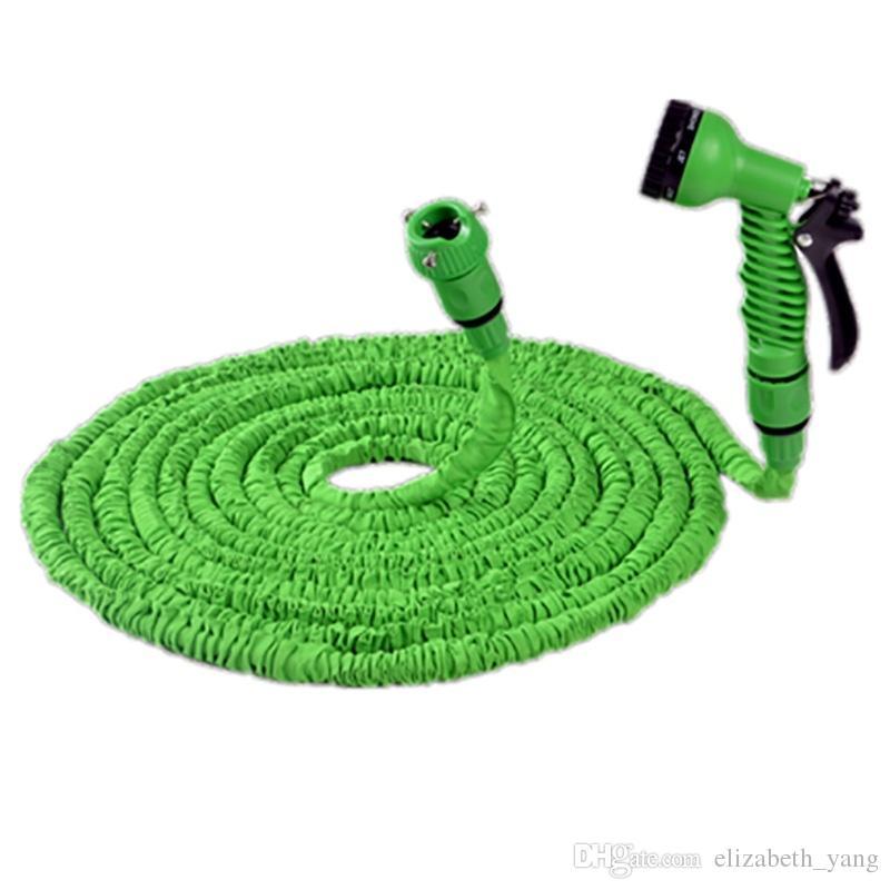 Venda quente 25FT Expansível Magia Flexível Jardim Mangueira Para Tubulações De Água Do Carro Tubo De Plástico Para Molhar Com Pistola De Pulverização Verde