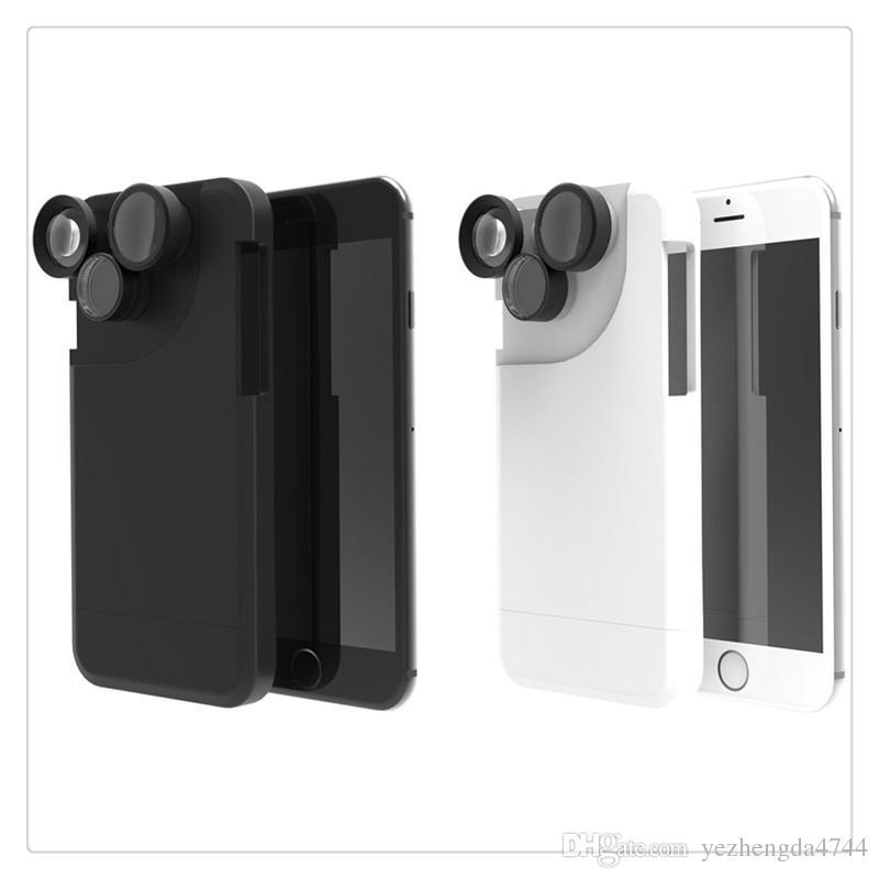 Kit de Lente Da Câmera 4in1 Fisheye Macro Grande Angular + Zoom Telefone  Caso de Proteção Preto Branco Para o iphone 6 6 s além de