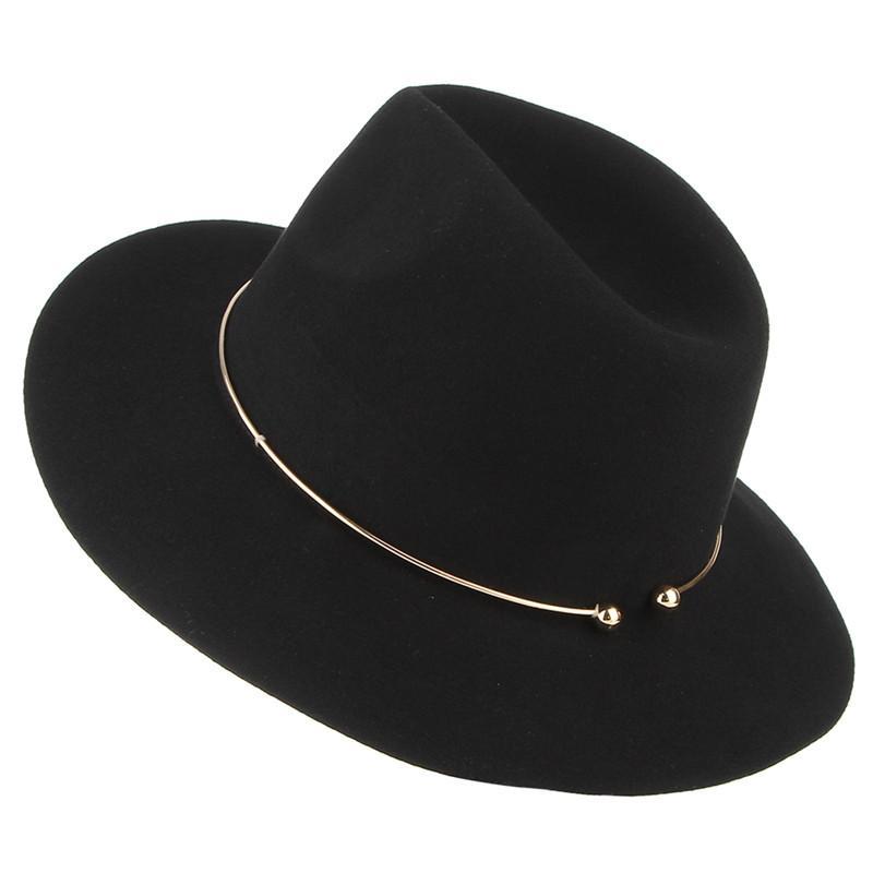484ed0502 2017 New Women Wool Fedoras With Metal Ring Wide Brim Panama Hat Winter  Warm Jazz Caps Elegant Lady Hat Sombrero