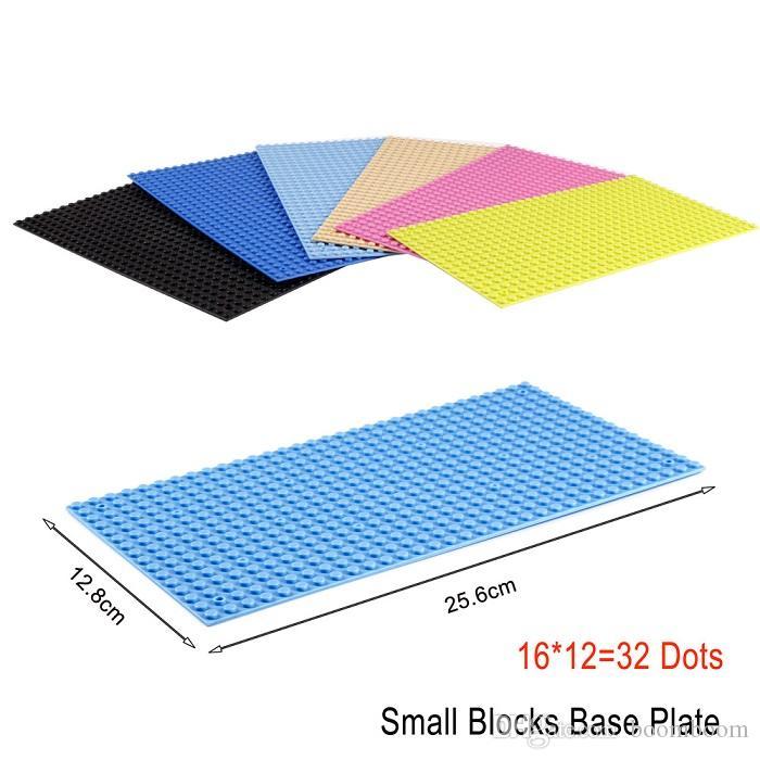 50pcsSolid Colors Small Blocks Building DIY BaseplateChildren Educational Building Blocks Toy 16x32 Dots Base Plate Assembled Toys 10 colors
