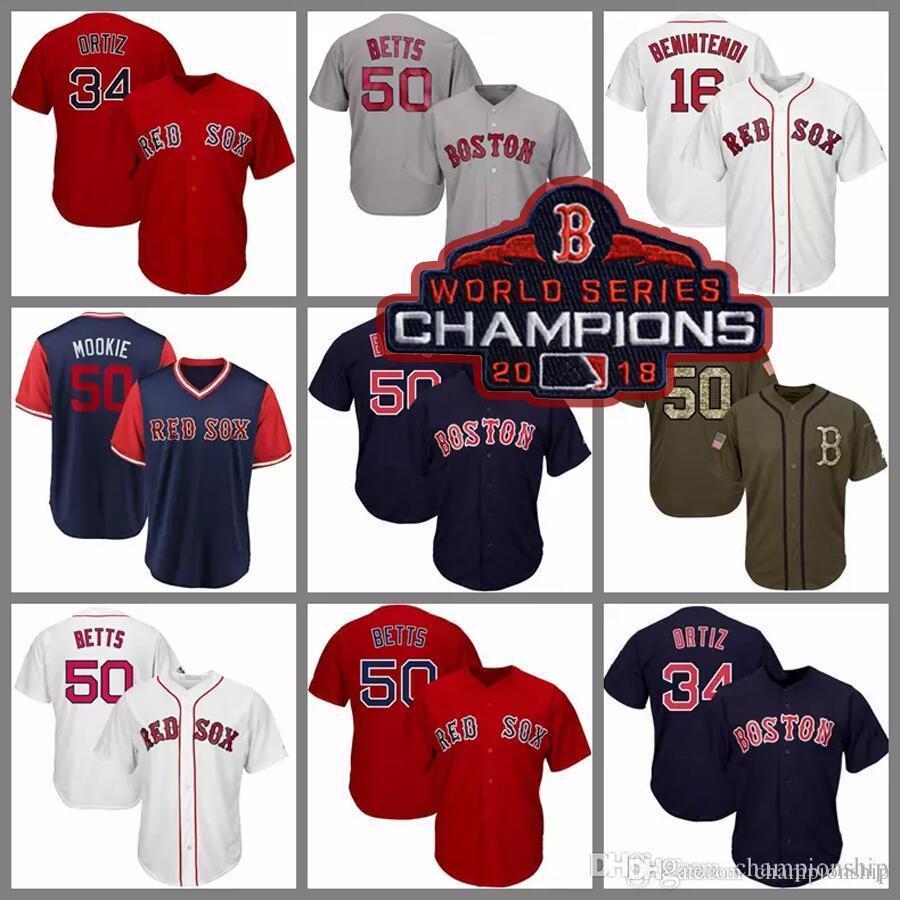 super popular b4d2b c4e95 Red Sox 2018 champion Jerseys 16 Benintendi 34 Ortiz 50 Betts Baseball  Jersey White Grey Navy Blue Red Salute to Service Players Weekend