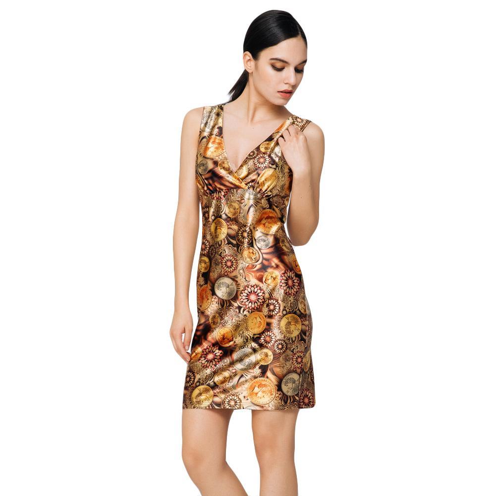 b1f52a9221a70 2019 Sexy Summer Women Mini Dress Vintage Coins Print V-Neck Sleeveless  Elegant Bodycon Party Dresses Evening Sundress Brown