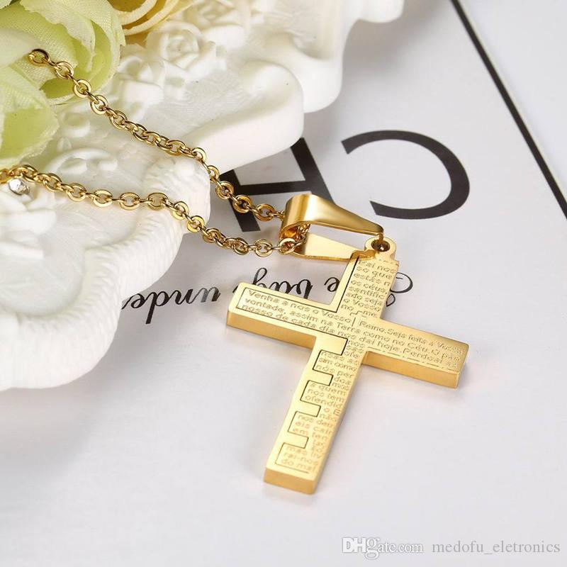 New Fashion Design Men Women Necklace 316L Stainless Steel Yellow Gold Plated Lection Cross Pendant Necklace for Men Women NL-691