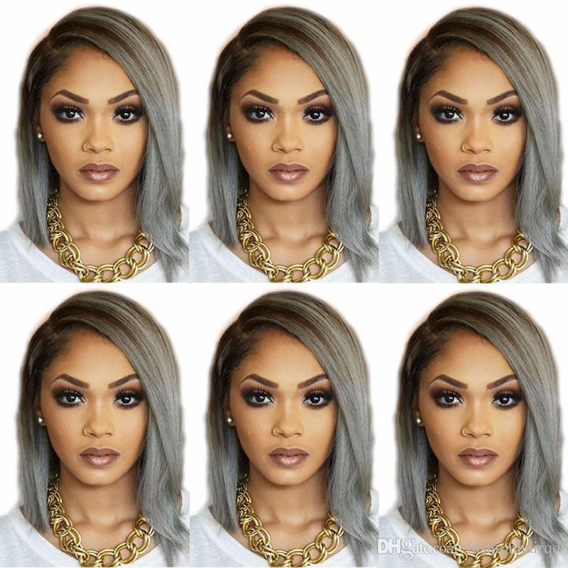 T1b Grey Ombre Full Lace Human Hair Wigs For Black Women Short BOB Brazilian Virgin Hair Lace Front Wigs With Baby Hair