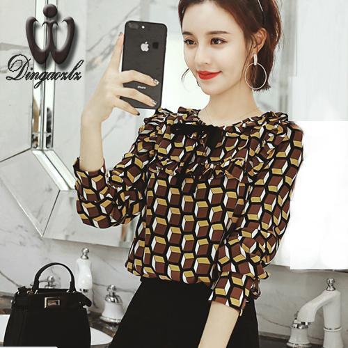 c1461130eadef Dingaozlz gündelik giyim kadın baskılı 2018 Kore moda yay dikiş şifon ...