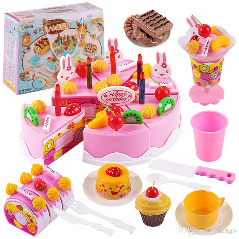 2019 Happy Cutting Mini Cake Sweet Toy Miniature Food For Doll Pretend Play Plastic Kitchen Birthday Gift Girl Kids From Surego 181
