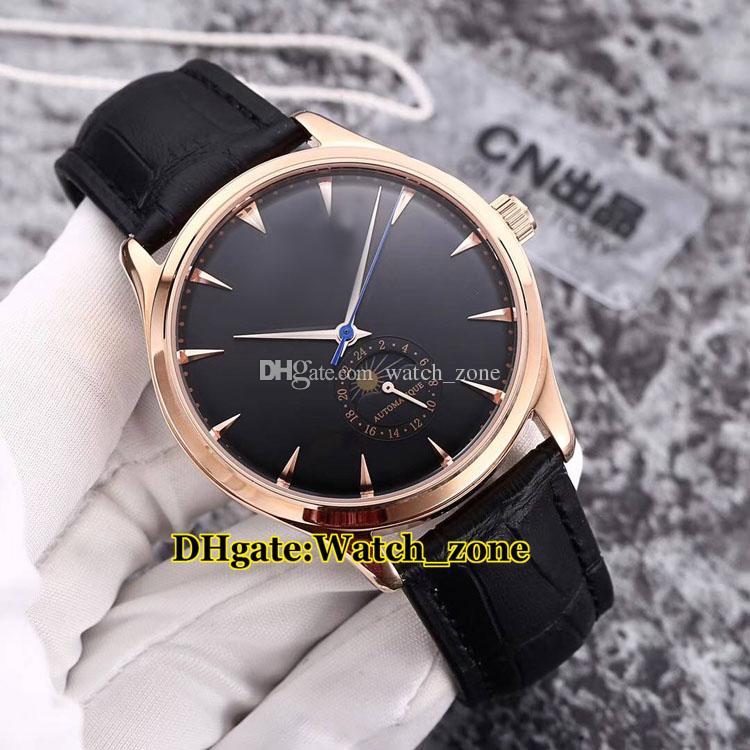 Nuevo Master Ultra Thin 1368420 Moon Phase White Dial Automático Reloj para hombre Estuche de plata Correa de cuero Relojes para hombres