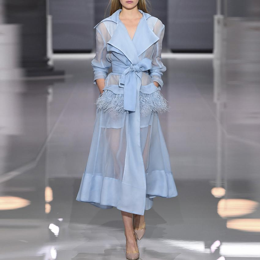 2ed31496b2fcb HIGH QUALITY Newest Fashion 2018 Designer Runway Dress Women s Perspective  Feather Embellished Lacing Belt Dress