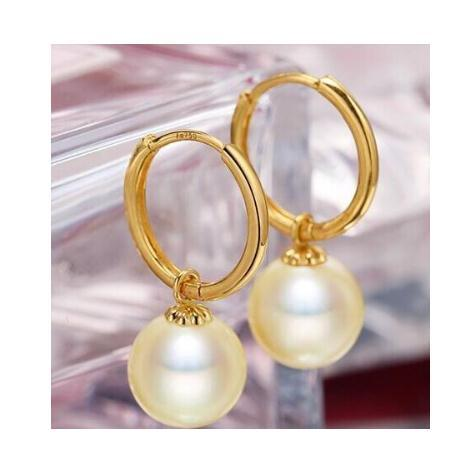 Charming 9-10mm South Sea White Round Natural Pearl Earring 14k Gold Clasp