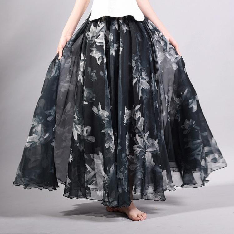 f678c75cc9 2019 Omen'S Clothing Skirts Elegant Summer 2018 Women Long Skirt Chiffon  Beach Bohemian Maxi Skirts High Waist Tutu Floor Length Saia Casual .