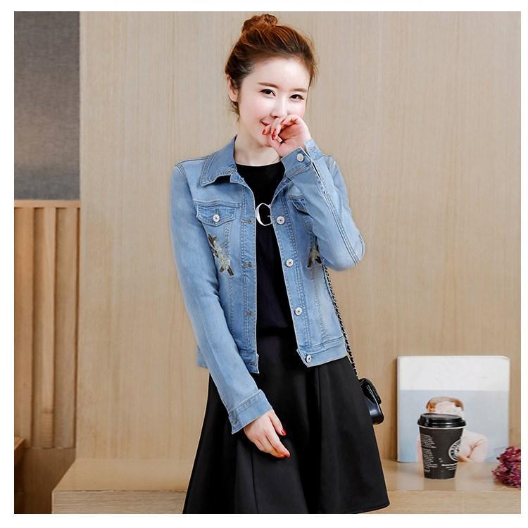 b086efce6 Flower Embroidery Classic Slim Jeans Jacket Women Autumn Straight Denim  Jacket Girl Short Coat