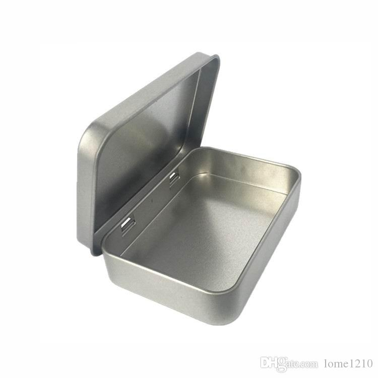 Plain silver tin box 8.8x6x1.8cm, rectangle tea mint candy business card usb storage box case