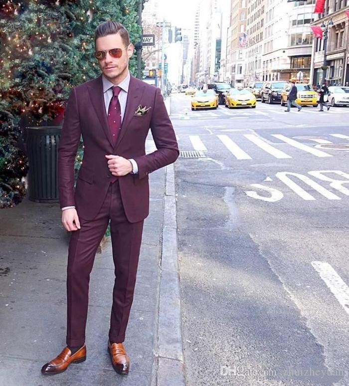 Fashion Matrimonio Uomo : Acquista new fashion borgogna uomo vestito matrimonio due pezzi