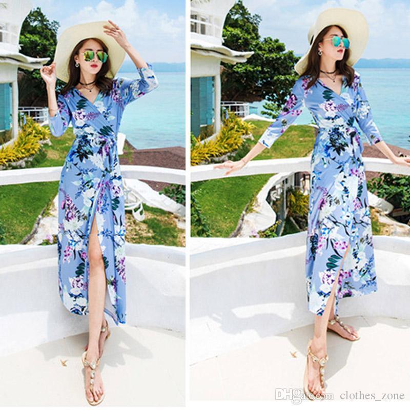 516813e1e9e European Popular Women s Summer Bohemian Sky Blue Maxi Long Dress Vintage  Flare Sleeve Sexy V Neck Casual Loose Boho Chiffon Dress Summer Dress Maxi  Dress ...