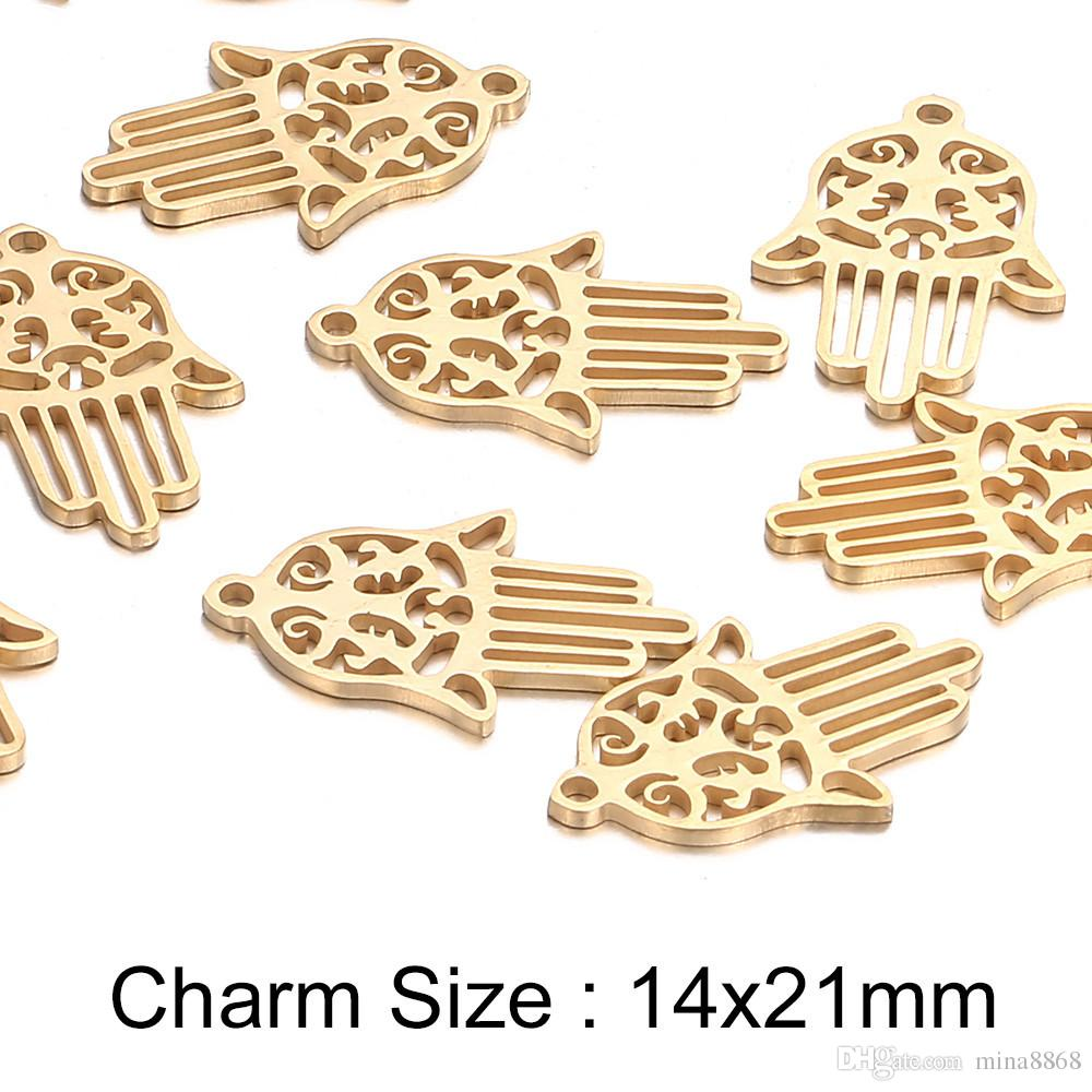 14*21mm stainless steel Charms silver/gold tone Hamsa Hand Charms Pendant for DIY Fashion Metal Jewelry Findings