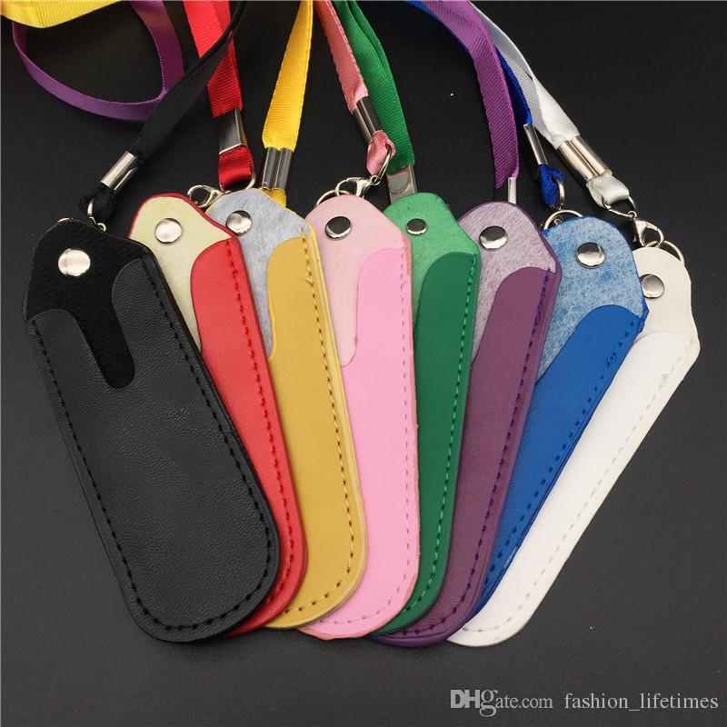 Colorful E Cigarette Bag Necklace String eGo E Cigarette Bag Necklace String Round Corner Case Bag PU Leather Lanyard