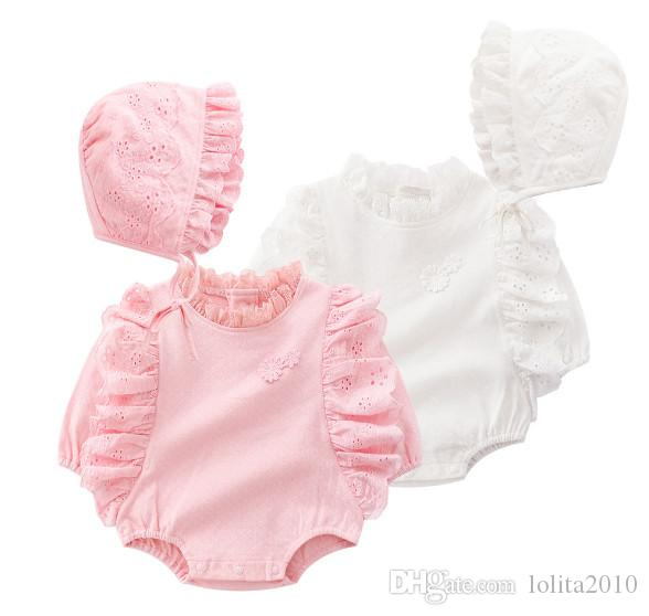 d59d52afc Newborn Baby Girl cotton rompers Girls Lace Flowers Triangle long sleeve  rompers+Hats Baby Clothing Sets Infant Jumpsuit summer bodysuits