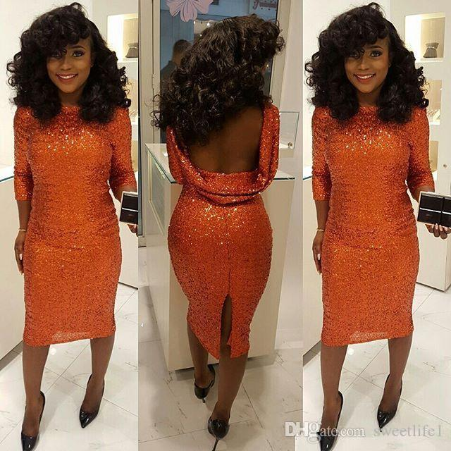a71546822d0 Sparkly Orange Sequined Cocktail Dresses 3 4 Long Sleeves Bateau Neck Tea  Length Prom Dress Attractive Backless Slit Party Gowns Club Wear Cocktail  Dresses ...