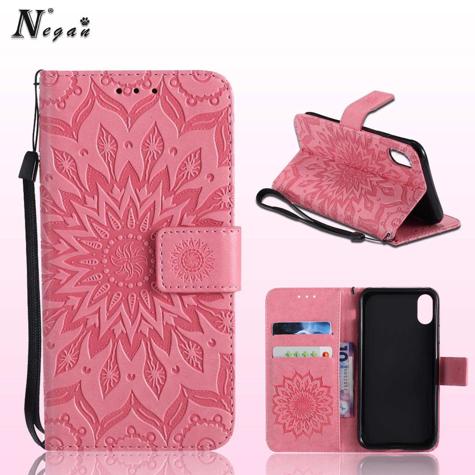 Coining Texture Sunflower Pattern Leather Wallet Phone Cases For Iphone X 8 7 Note 8 S8 S9 Wallet Pouch With Card Slot Discount Cell Phone Cases Free Cell