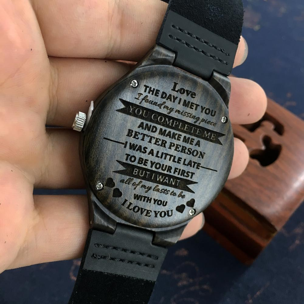 bc49656485683 Personalized Wooden Custom Watch for Men Boyfriend Gifts Engraved Confirm  Text for Black Sandalwood Watch Can t Change the Text