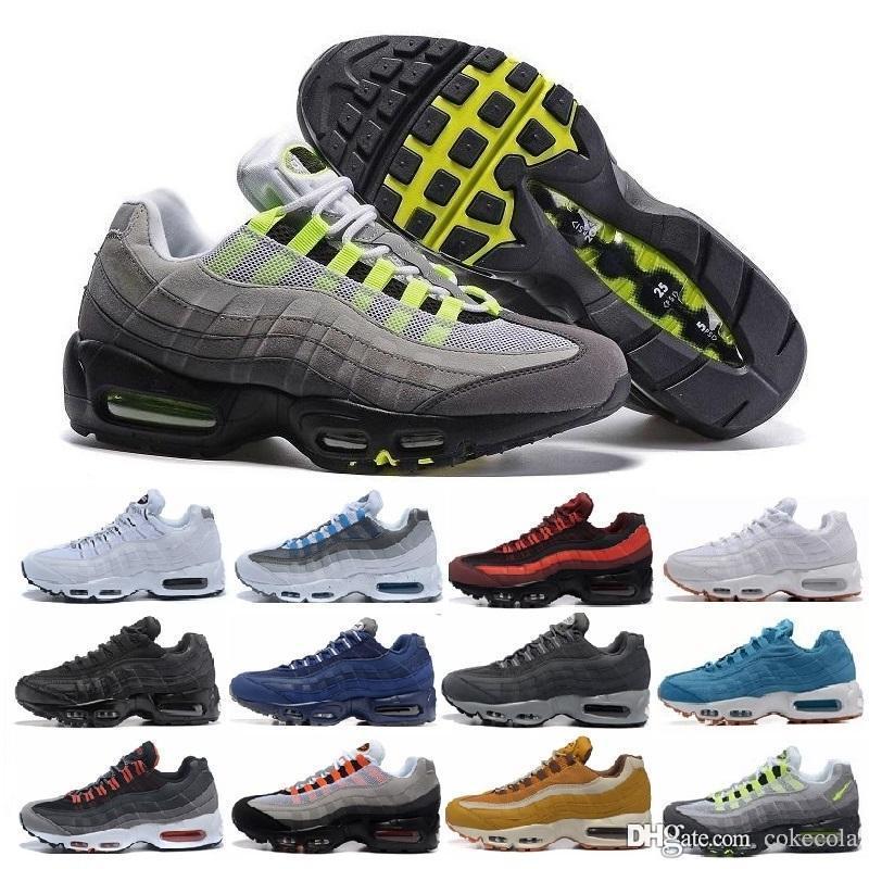 timeless design 75cef 7ab75 Compre Nike Air Max Air Max Zapatillas De Deporte Baratas Zapatos Classic  95 Hombre Zapatos Negro Oro Blanco Entrenador De Deporte Aire Cojín Mesh  Zapatos ...