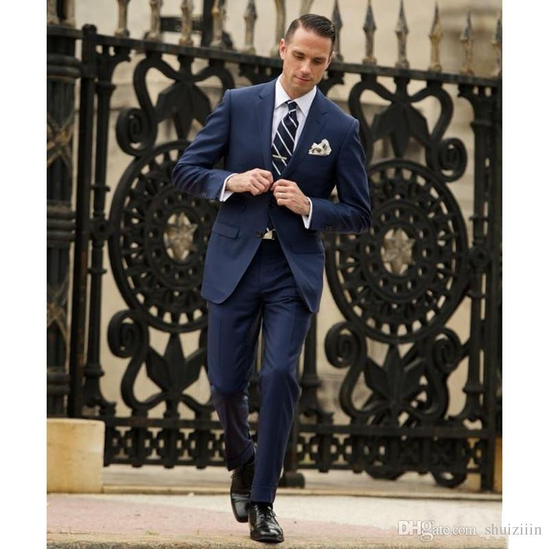 Two Piece Navy Blue Slim Fit Men's Suit Two Buttons Peaked Lapel Wedding Tuxedos Custom Made Men Business SuitJacket+Pant