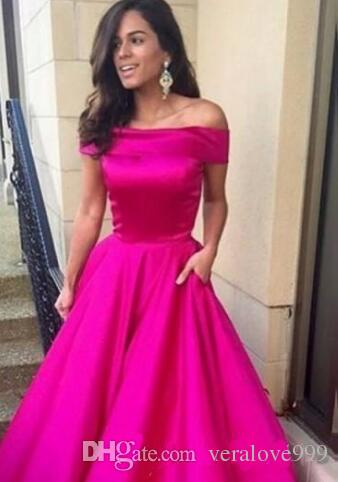 Newest Design Fushia Long Prom Dresses Simple Style A-Line Elegant Off-the-shoulder Evening Gowns Robe De Soiree Custom Made