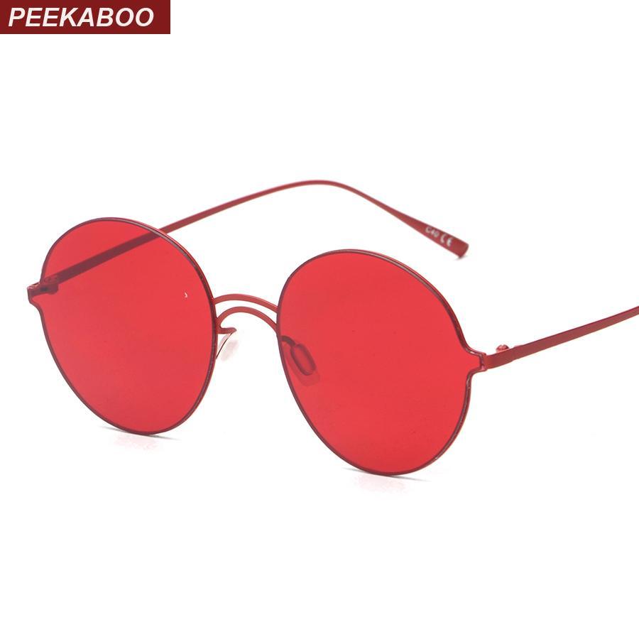 c1a30f72d0 Peekaboo Brand Vintage Retro Round Sunglasses Tinted Lens Men Women Super  Light Sunglasses Yellow Pink Red UV400 Lentes De Sol Prescription Glasses  Online ...