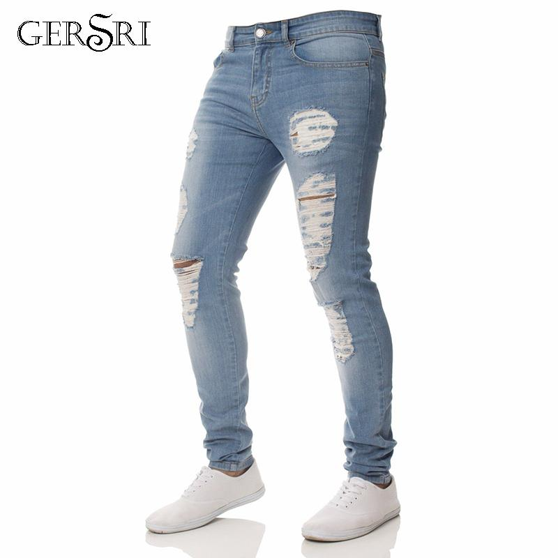 482893d25e96 Gersri Mens Jeans Casual Skinny Teenager Jeans Pants Men Fashion Pencil Ripped  Beggar Knee Hole Youth Boy Jeans Cheap Jeans Gersri Mens Jeans Casual  Skinny ...