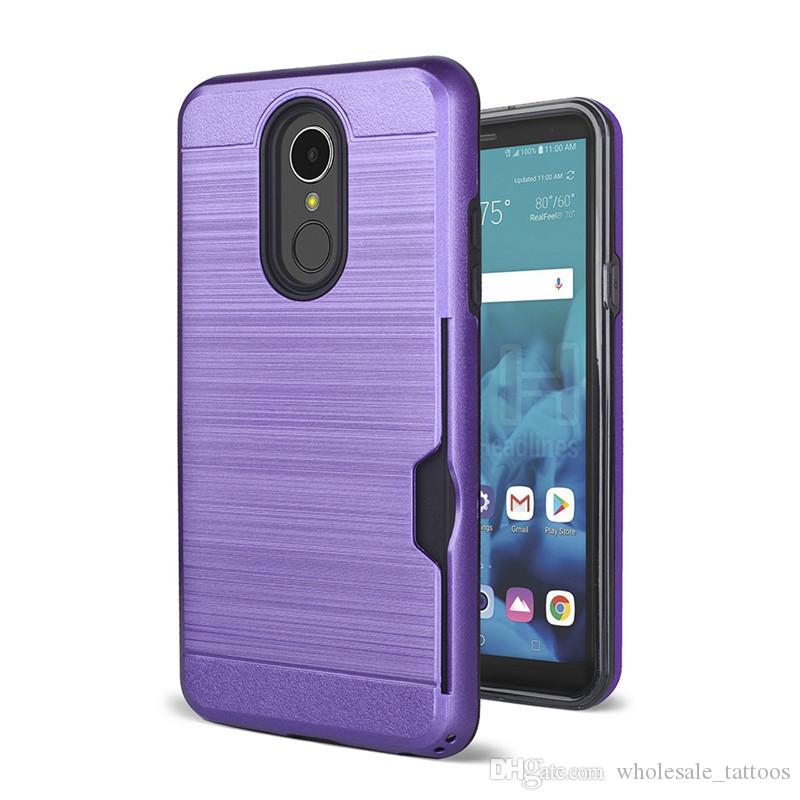 more photos 4ee01 b0e05 Armor Hybrid Brushed case For ZTE Tempo Go N9137 Blade Vantage Z839 N837  Fanfare 3 Z852 ZFIVE G LTE Z557BL With Credit Card Card Slot