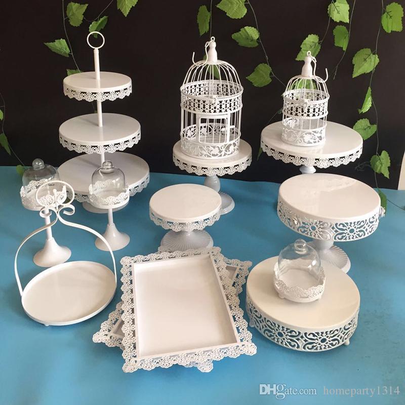 /white gold crystal metal cake stand wedding cupcake stands cake plates pan fruit bar decoration cookie cake tools bakeware set