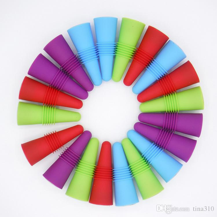 Nw Silicone Reusable Wine Bottle Stoppers Custure Stainless Silicone Lorky Beer Ber Bottage Stopper Bar ToolsT2I084