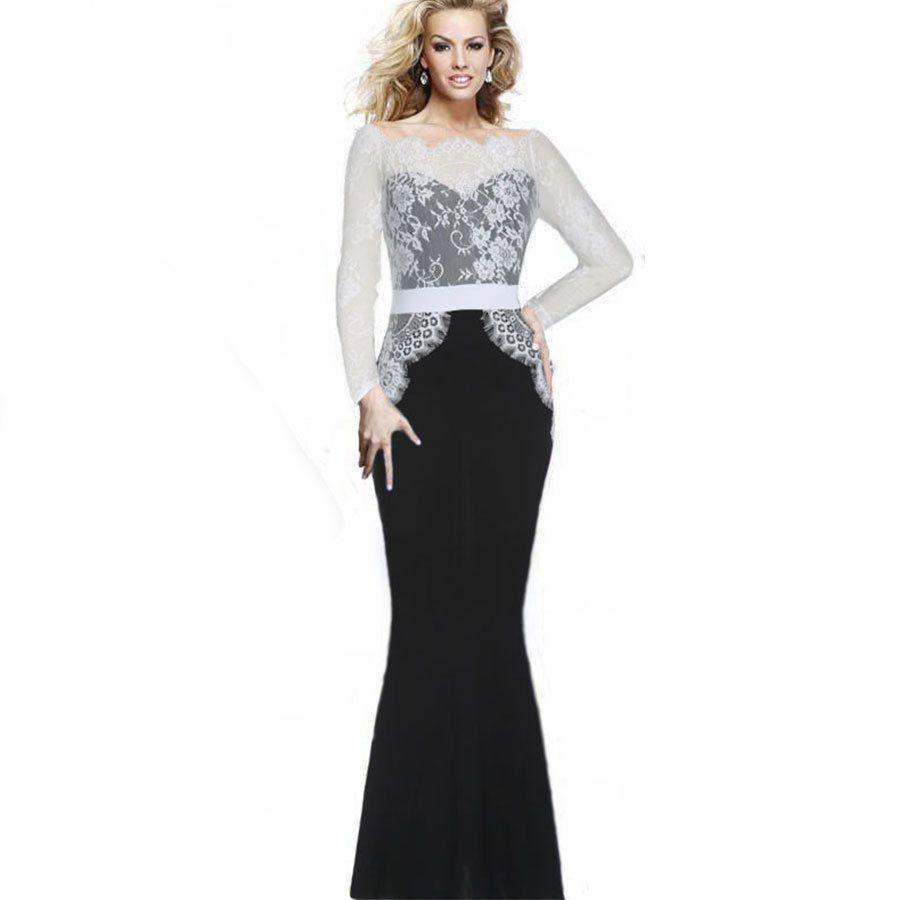 Sexy Mermaid Dresses Long Lace Prom Dresses Elegant Vintage Women ...
