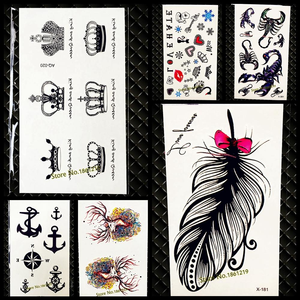 Chic cute king queen crown tattoo sticker waterproof arm hand tatoo for men women body art fake temporary tattoo stickers gaq020 print your own temporary