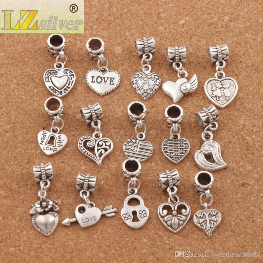 150 pçs / lote Antiqued Prata Assorted Coração Dangles Beads Fit Charme Europeu Pulseira Jóias DIY Metal BM6