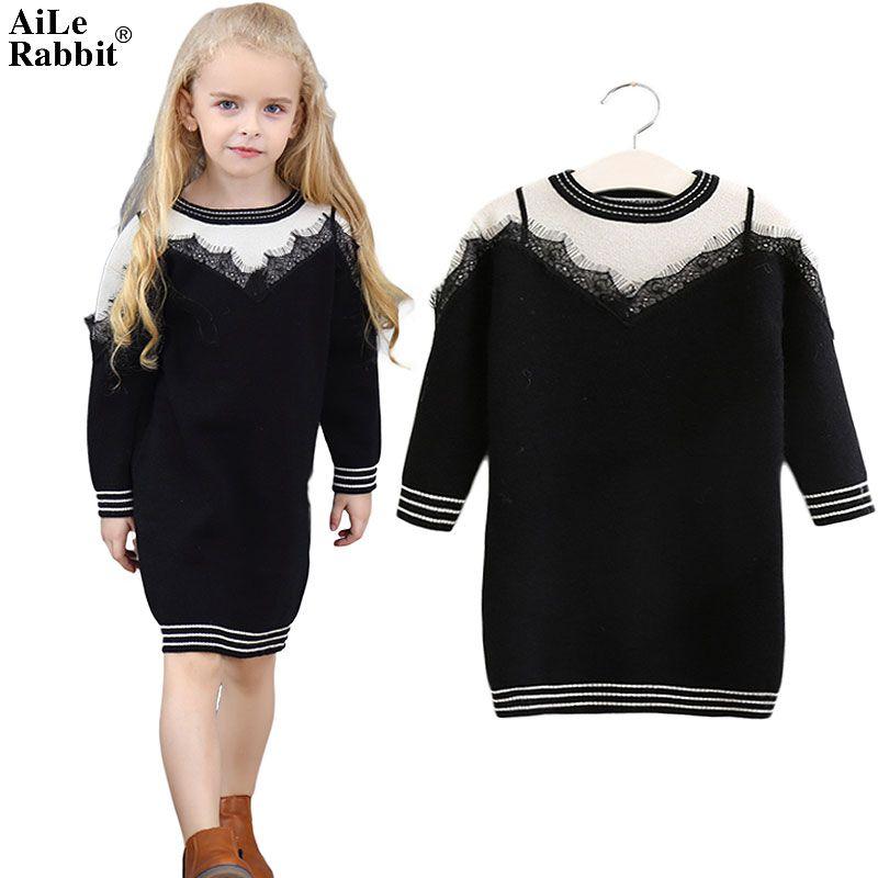 2019 Aile Rabbit Girls Sweater Dress Lace False Harness Black White