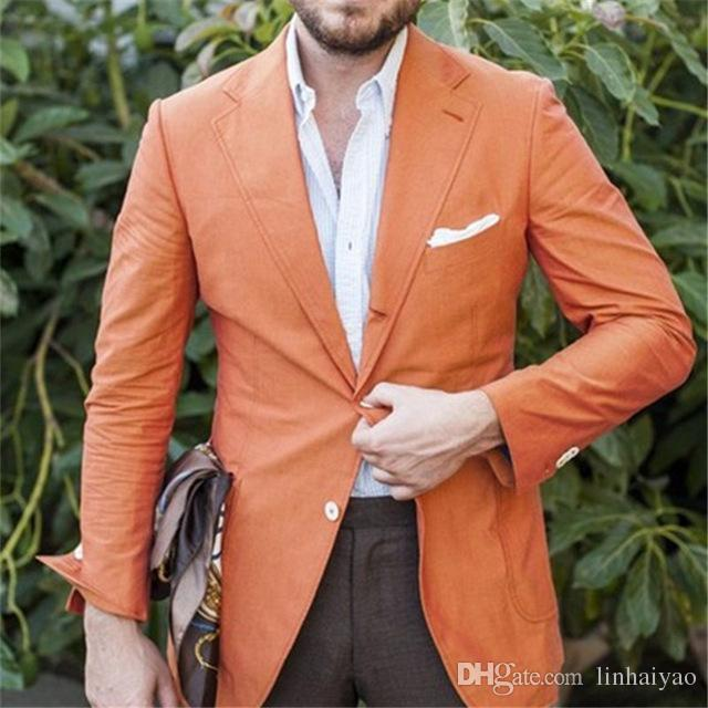 Casual Summer Stylish Orange Men Suits 2pieces(Jacket+Pants+Tie) Latest Designs Terno Masculino Custom Groom Prom Blazer