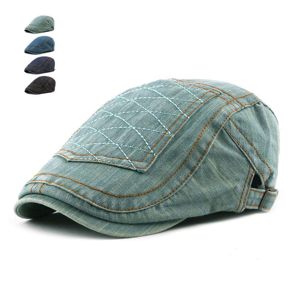 8ed55cbd85 Compre De De Planas Hombres Moda Respirables Pantalones Vaqueros Boina  Gorra Retro Sombreros Planos Para Casuales ...