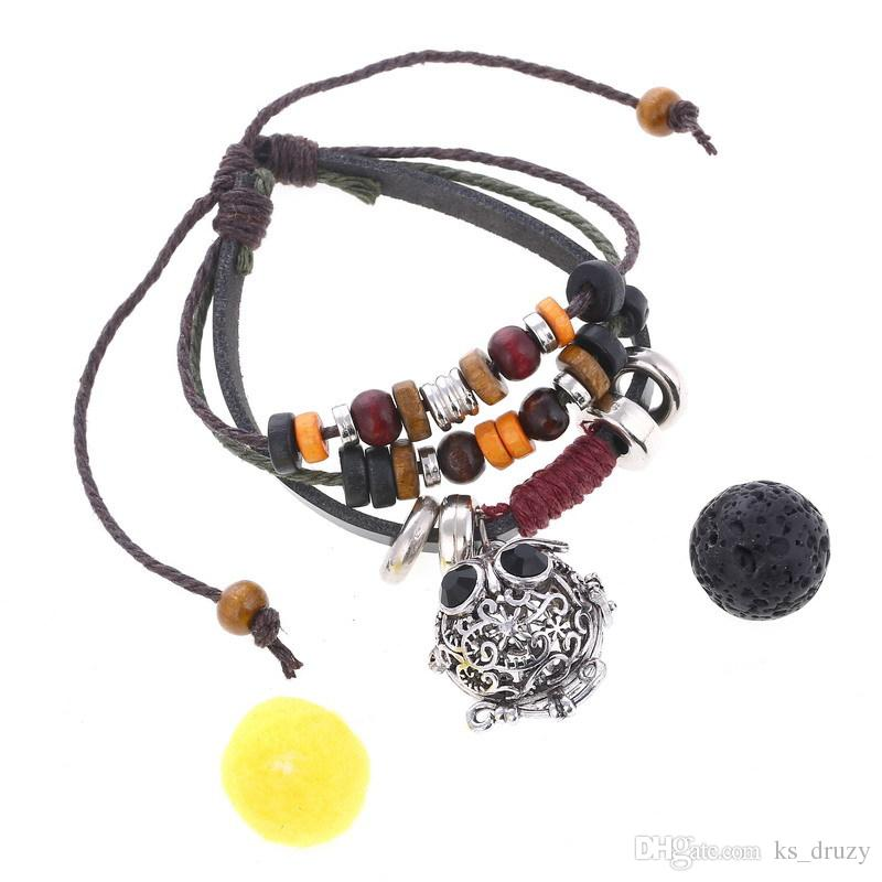 Multilayers Genuine Leather Black Lava Stone Bead DIY Essential Oil Diffuser Bracelet Vintage Silver Charms Bracelets Jewelry