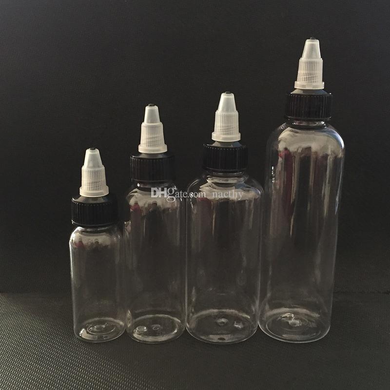 DHL Free Twist Off Caps Pen Shape Vape Oil Bottle 30ml 50ml 60ml 100ml 120ml PET Empty Plastic Dropper Bottles for E Vapor