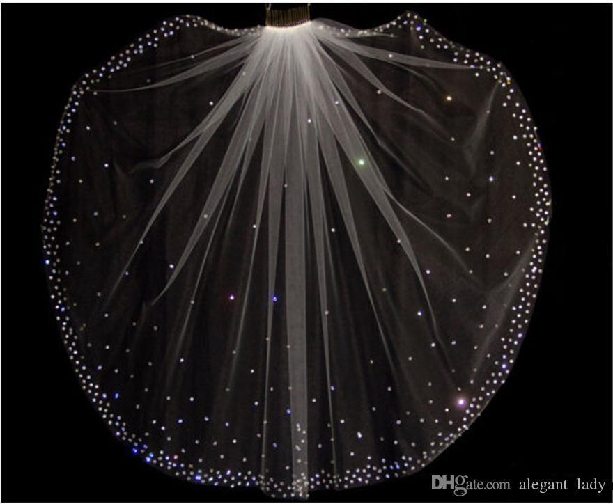 Glitter Sıcak Satış Köpüklü Yüksek Kalite Ücretsiz Katman Ile 1 Katman Kristaller Düğün Veils Beyaz / Fildişi Gelin Aksesuarları Ucuz satış