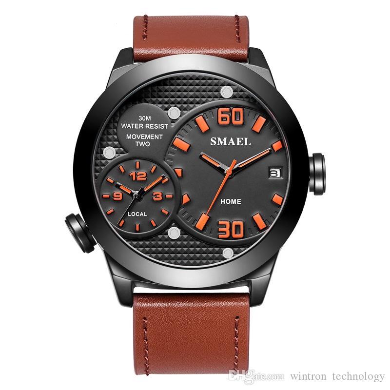b43f3aeae71c Compre 2018 Novedades Para Relojes Relojes De Moda Para Hombres De Negocios  Dos Movimientos Multifuncionales Con Relojes De Cuarzo De Aleación  Carlendar A ...