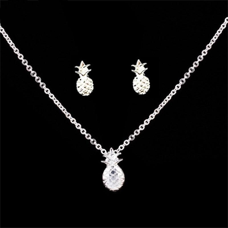 Gold Color Jewelry Sets Cuban Link Chain Pineapple Tattoo Choker Necklace Stud Earring For Women Pineapple Jewelry set