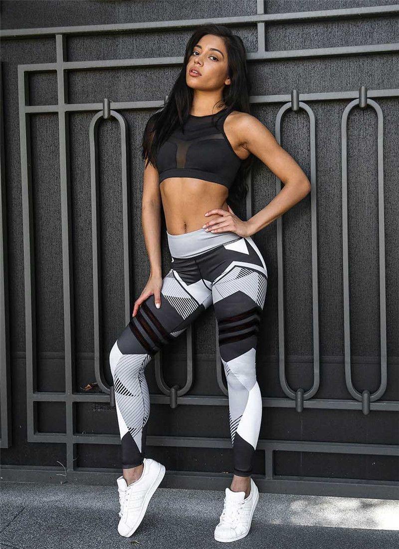 Geometric Prints Fitness Yoga Pants Brand Compression Sportswear Women Running Training Gym Sports Clothing