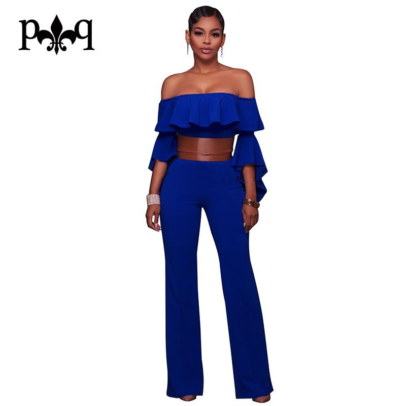 30a9364a571db5 2019 Sexy Jumpsuit Women Off Shoulder Blue White Jumpsuits Ruffles Flare  Sleeve Wide Leg Jumpsuit Elegant Casual Loose Women Rompers From Lucycloth