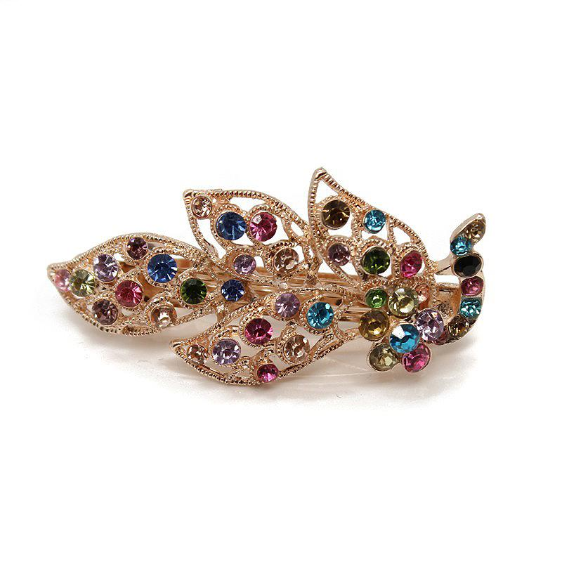 Fashion Bridal Hiar Jewelry Accessories Wedding Crystal Hair Clip Big Peacock Stone Rhinestone Hair Barrette For Ladies