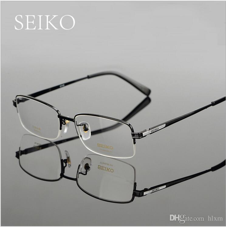 1a2dff41482 2019 SEIKO Eyeglass Frame Men Business Large Face Myopia Glasses Large Size  Half Frame Pure Titanium Glasses HT01080 From Hlxm