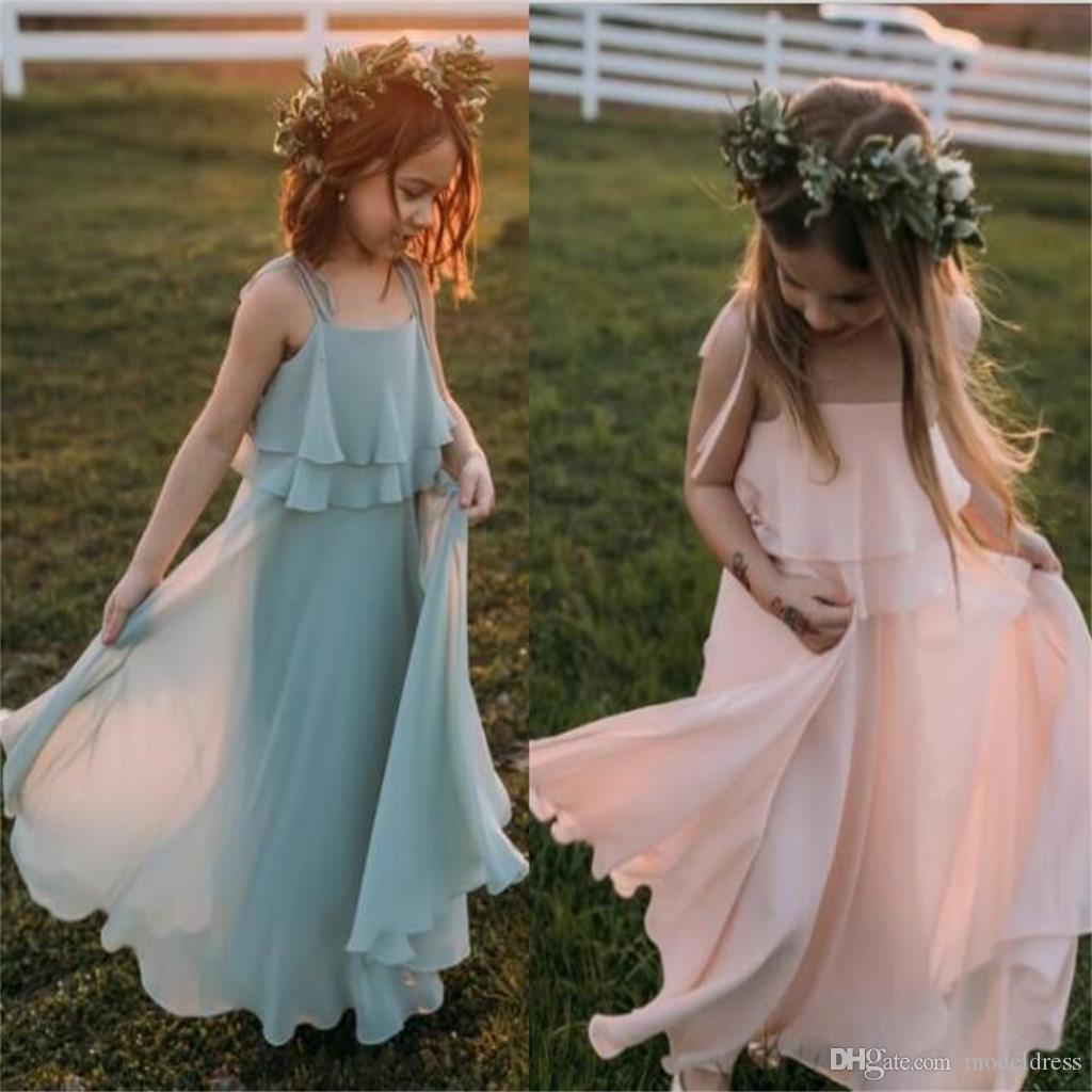 Chiffon Beach Flower Girls Dresses A Line Spaghetti Straps Tiered