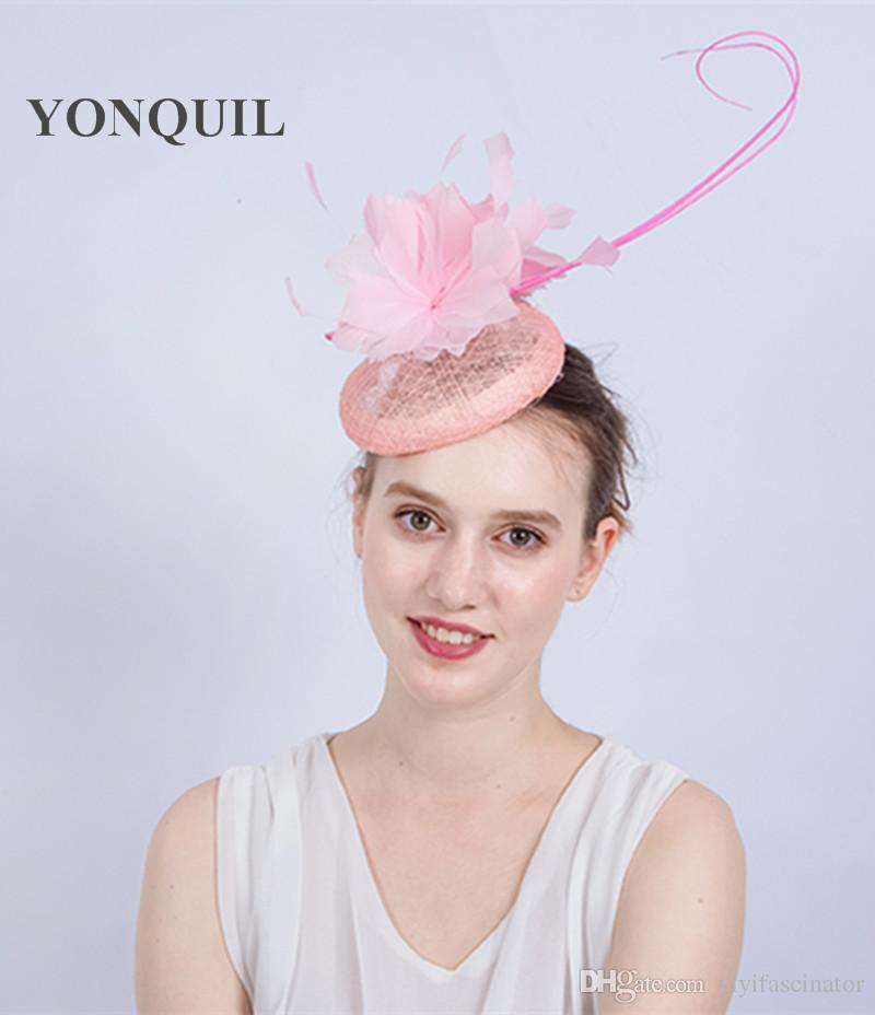 NEW ARRIVAL Elegant Wedding Cocktail Hat With Feather For Women Pink  Feather Banquets Hat Ladies Autumn Occasion Event Race SYF169 Hats Uk  Kentucky Derby ... cea6136011e