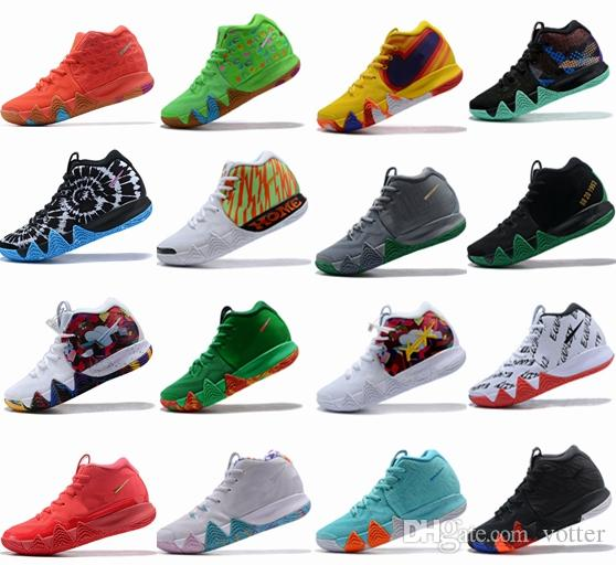 huge selection of b2a96 45ebd 4s Kyrie IV Lucky Charms Mens Basketball Shoes Irving 4 Confetti BHM  EQUALITY All-Star March Madness City Guardians London Mamba Sneakers